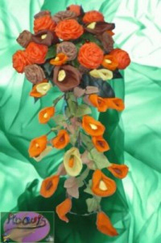 Ramo de novia otoñal hecho con origami - Artesanum