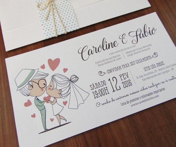 Convite de casamento simples, com desenho de noivinhos e formatação não convencional