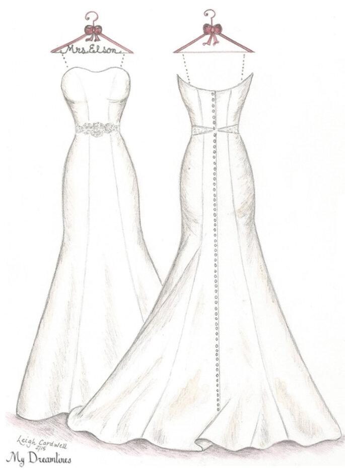 Dreamlines Wedding Dress Sketch front and back