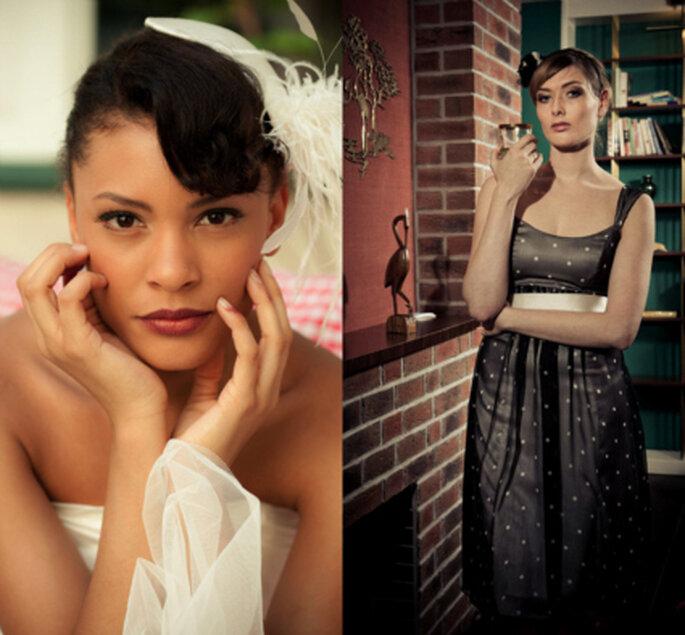 Links: Kopfschmuck füjr die Braut, rechts: ein Brautkleid, das in ein Abendkleid umgewandelt wurde