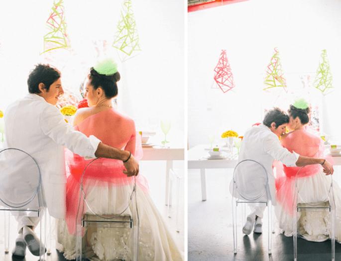 Sesión de fotos de boda en colores neón - Foto Cathrin D'Entremont