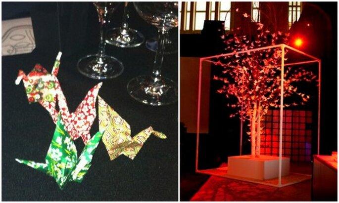 Árbol con 500 grullas y grullas de origami