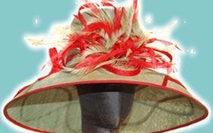 Tustocados.com - Sobrero con plumas camel y rojo
