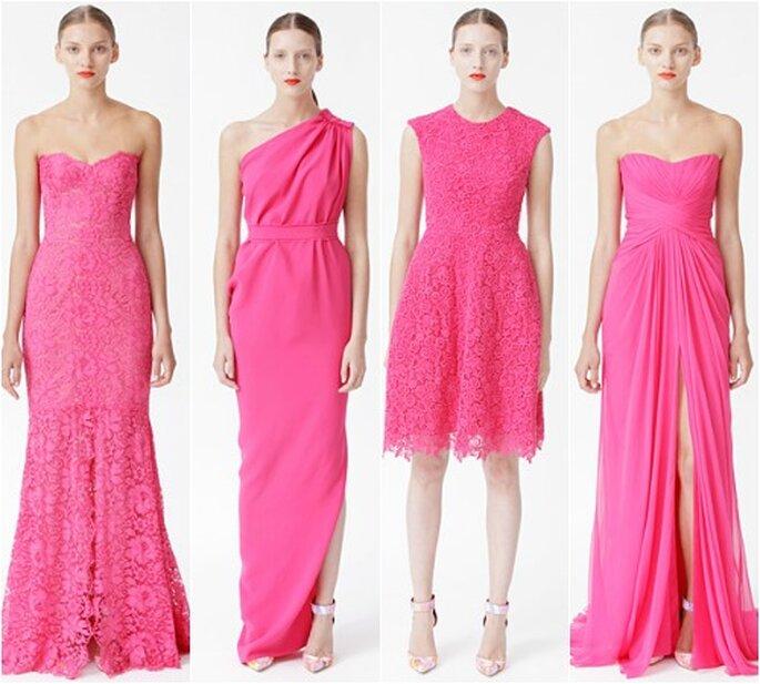 Farbenfrohe Designs bringt die Festmode 2013 hervor – Foto: Monique Lhuillier @ New York Bridal Fashion Week (6)