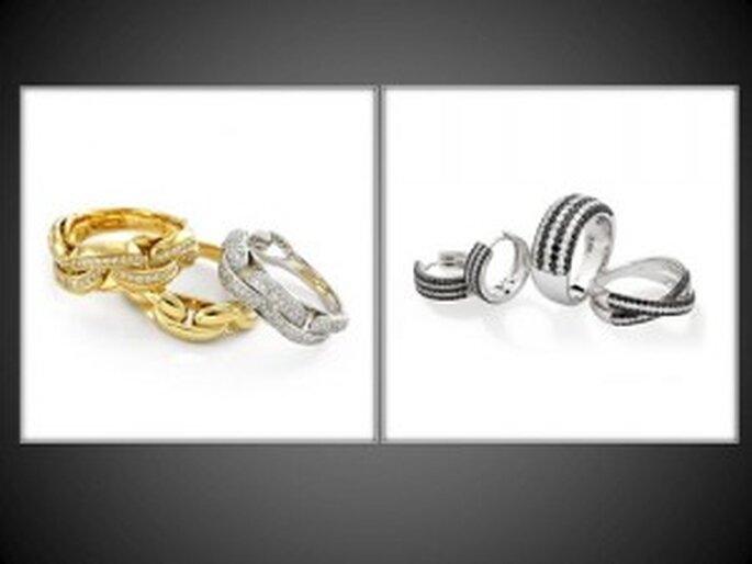 Anelli in oro giallo e bianco con diamanti della linea Infinity e oro bianco con diamanti bianchi e neri per la linea Incontri. Foto: www.chimento.it