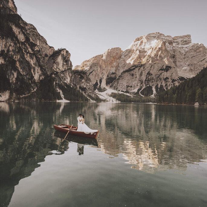 sesión postboda novios lago