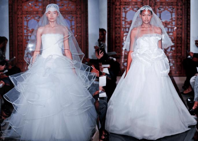 Vestidos de novia otoño 2013 con volúmenes y detalles en relieve - Foto Reem Acra