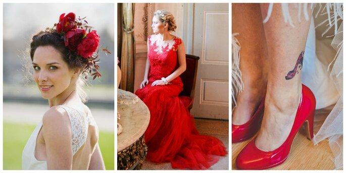Photo à gauche : Accessoire cheveux Reflets Fleurs / Photo au centre : Shooting Authentic Love Photography / Photo à droite : Shooting Elixirphotos