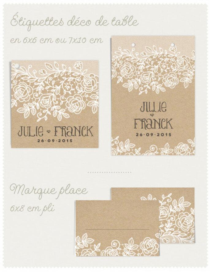 Éléments de décoration de table assortis au faire-part de mariage Dentelle sur Dioton.fr