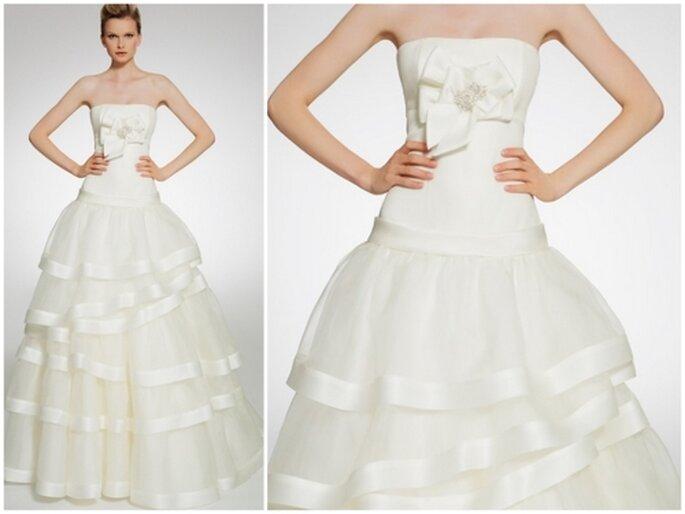Vestido de novia escote strapless. Patricia Avedaño