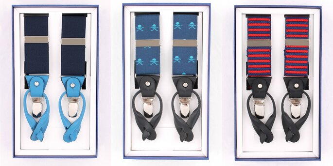 Plain suspender blue, Skull suspender blue, Stripes suspender red. Credits: Scalpers