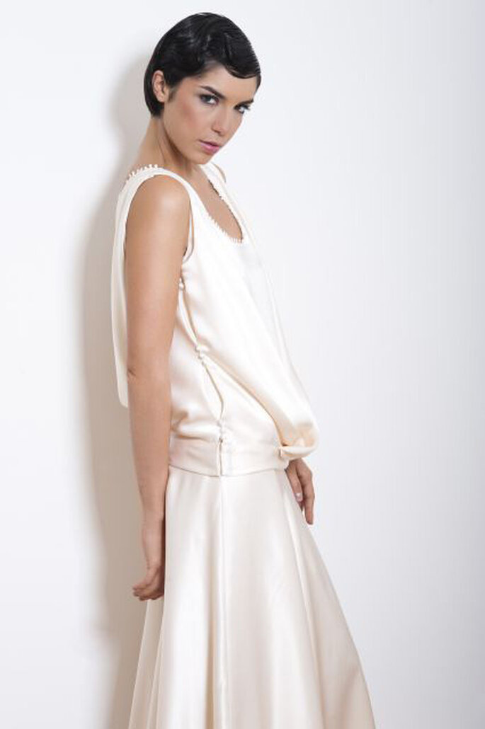 Robe de mariée à bretelles - Odile Léonard 2012