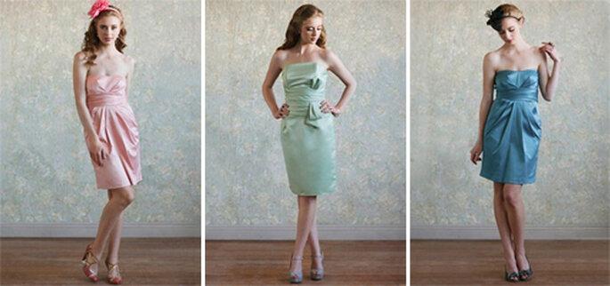 Vestidos para damas strapless y a la rodilla en tonos pastel - Foto: Ruche