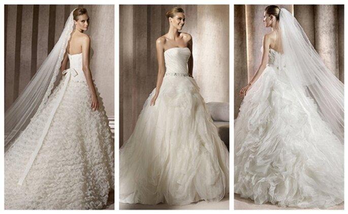 Prinzessinnen Hochzeitskleider von Pronovias Dream Collection 2012 - Modelle linksBenadir, MitteBengala, rechtsBengasi - Fotowww.pronovias.us