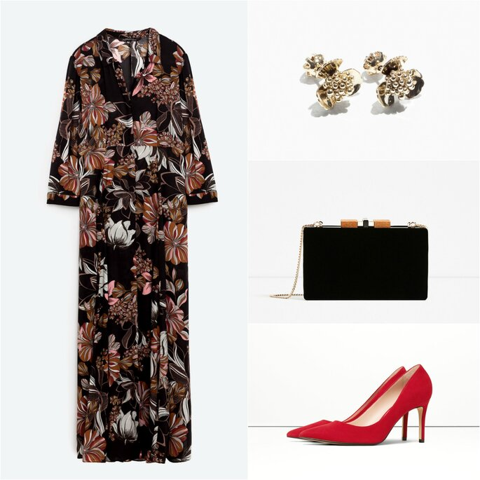 Look con vestido largo. Vestido y clutch: Zara. Zapatos: Mango. Pendientes: & Other Stories