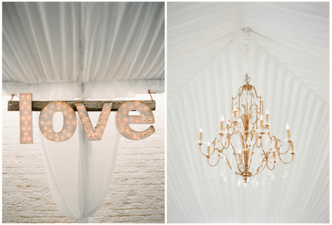 Decoración de boda con divertidas letras - Foto KT Merry Photography