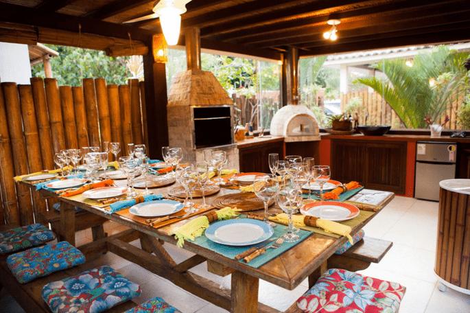 mesa linda em casa de verão em Búzios