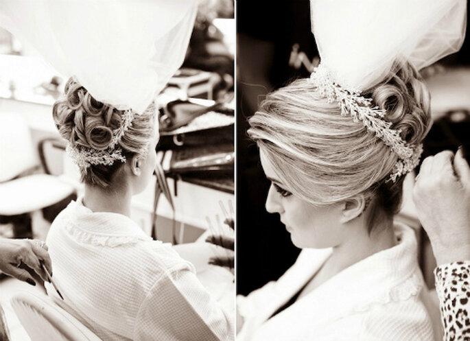 Un precioso peinado de novia de estilo 'vintage'. Foto: Paulo Heredia