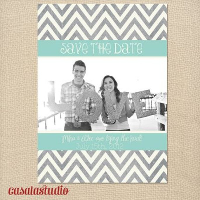 Mod Chevron Save the Date etsy com Casala Studio