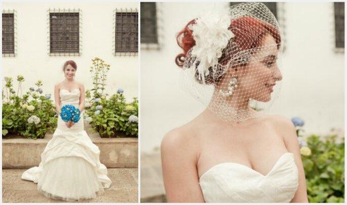 Vestido confeccionado en shantung de seda, tul y encaje. Diseño: Catalina Bayona. Fotos: Julie Bayona Withe Photography