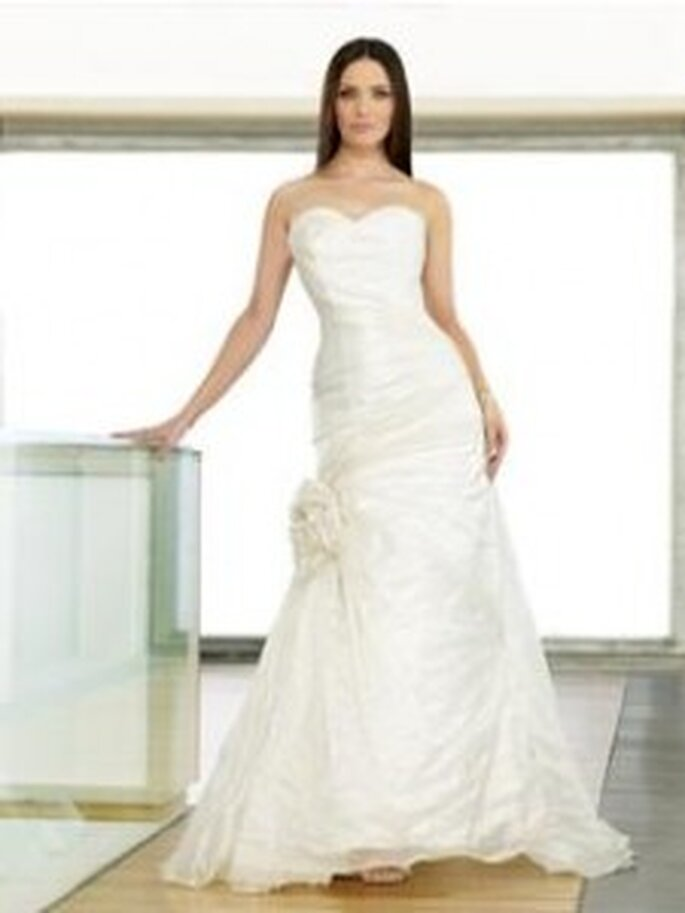 Jacalyn by Berketex Bride - mermaid-style strapless dress with floral applique