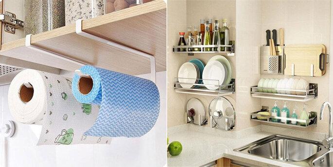 Porta papel toalha e perfex, organização de cozinha