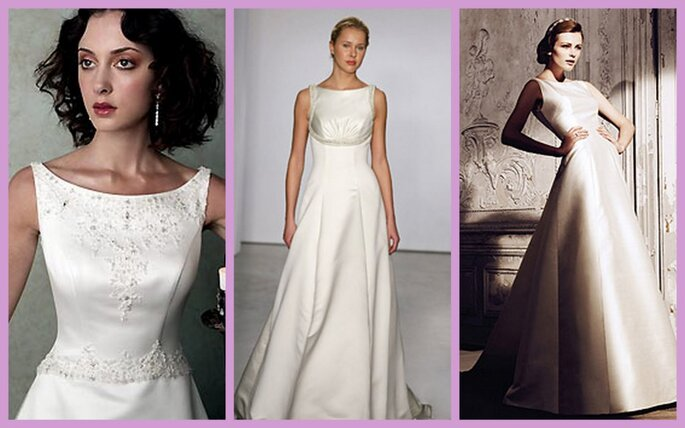 Boat neck wedding dresses from left Casablanca Vinyard Collection and