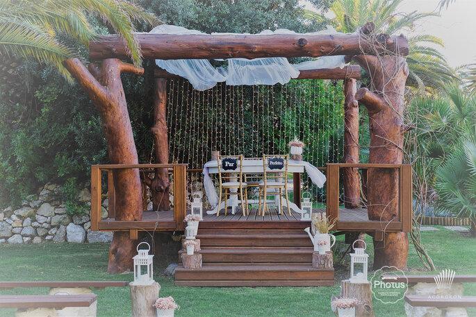 decoração de casamento rústico: cortinas de luzes
