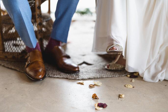 Pieds des mariés, lors de leur cérémonie
