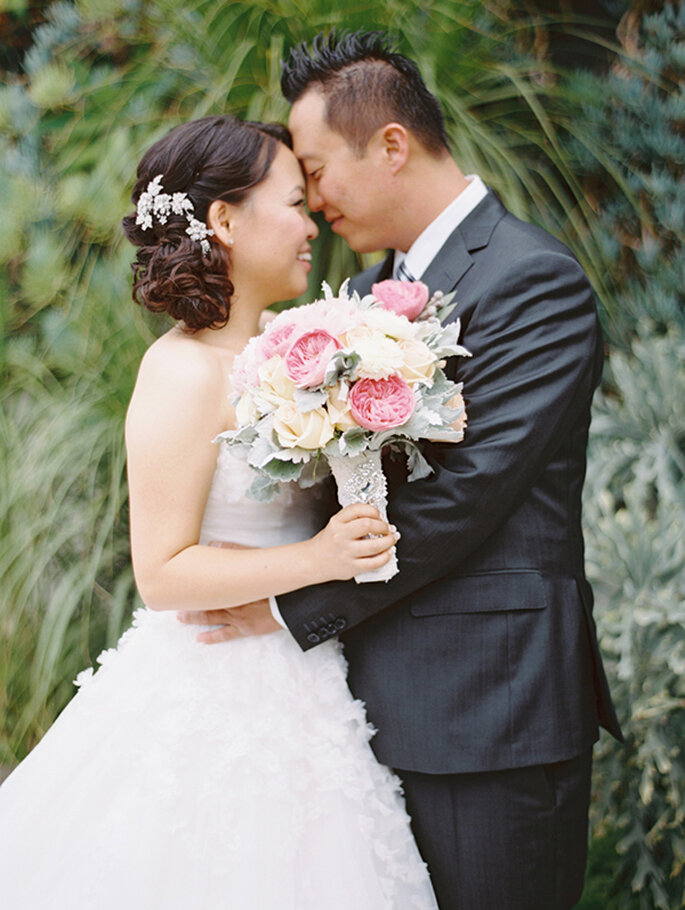 Charming wedding in a flowery garden in Los Angeles, California. Photo: Esther Sun