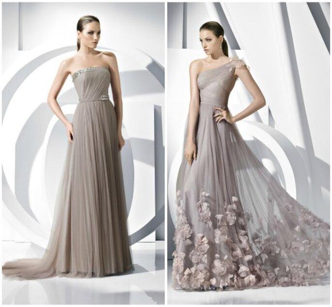 En tonos grises para ir a la fiesta de boda con elegancia. Foto: Pronovias