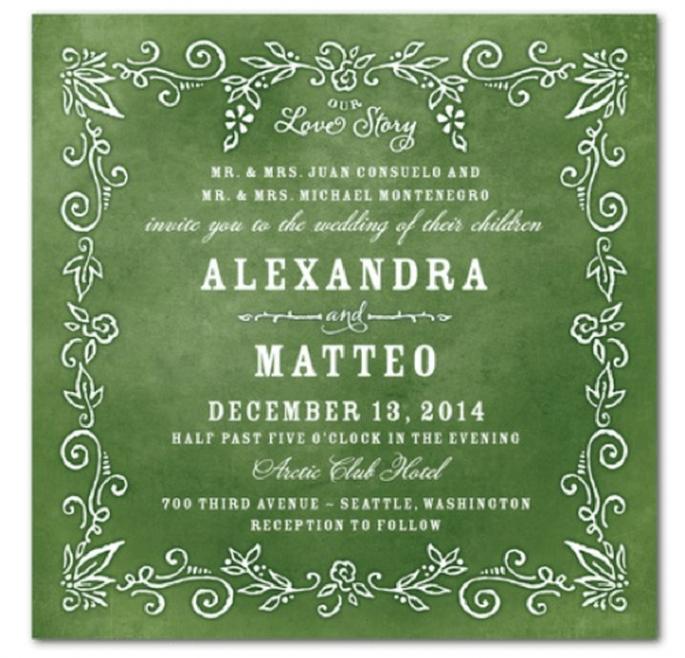 Invitación de boda con color verde esmeralda de fondo y letras nude . Foto Wedding Paper Divas