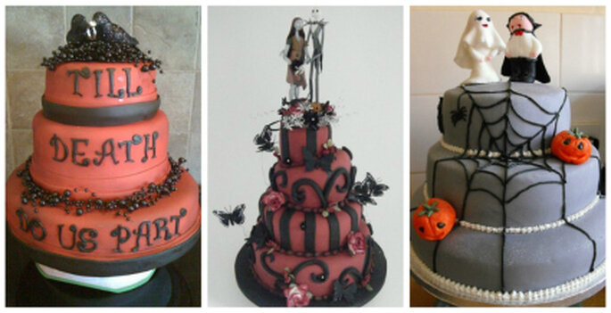 Selecciona un diseño alusivo al tema de Halloween para tu pastel de bodas. Foto: www.cakecentral.com / www.weddingcakesbylisabroughton.co.uk