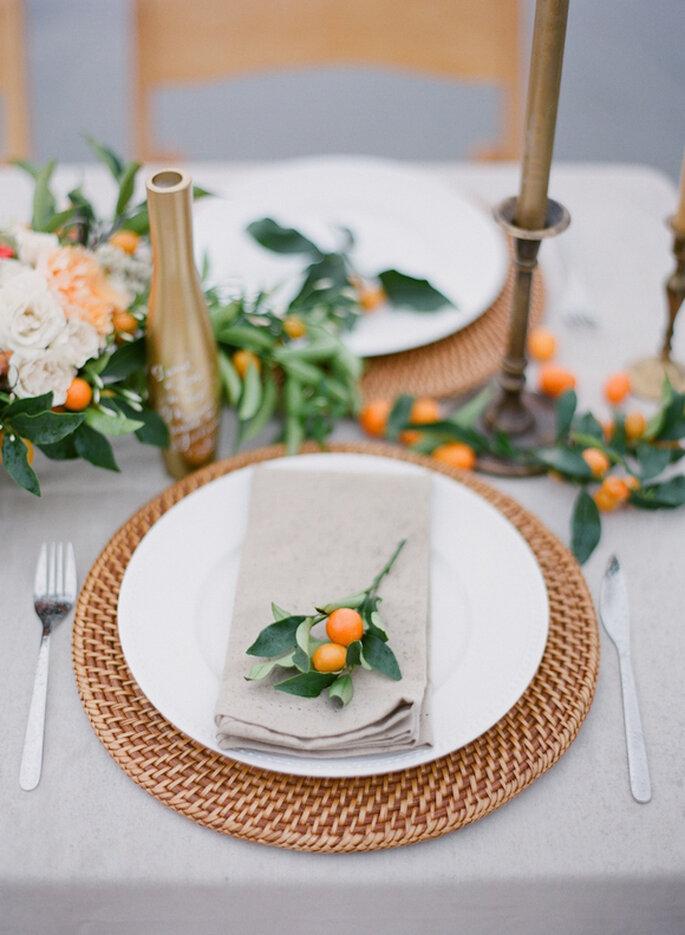 Decora tu boda con tonos naranjas, beige y terracota - Foto Adrian Michael Photography