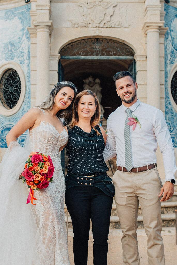 os noivos com a wedding planner
