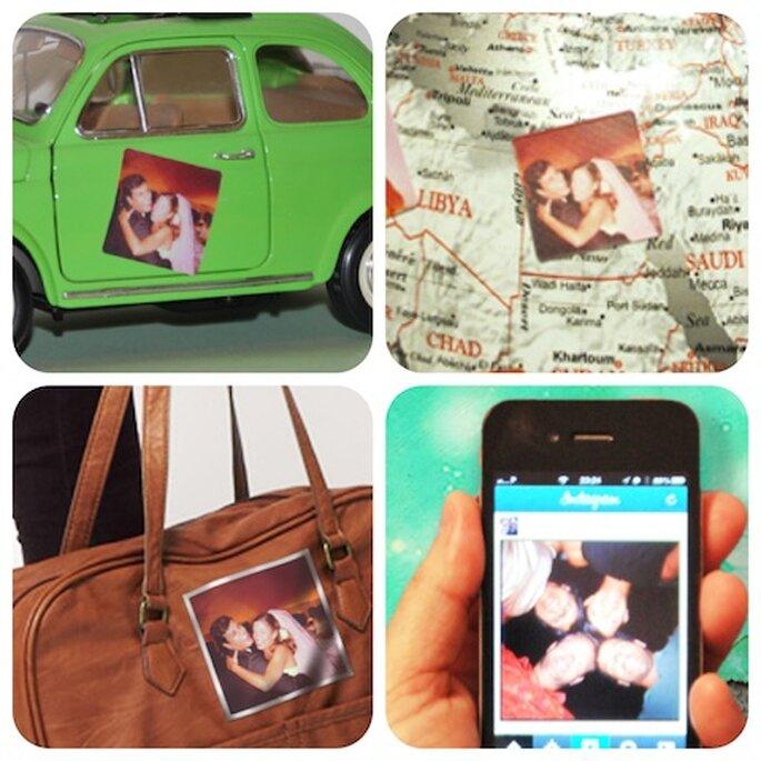 Adesivos reutilizáveis com suas fotos do Instagram. Fotos: Reusegram