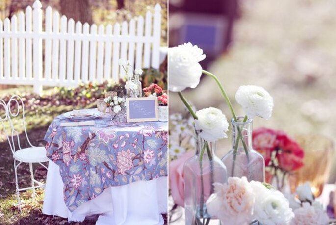 Manteles estampados para mesas de boda vintage - Foto de: Blog de Madame C