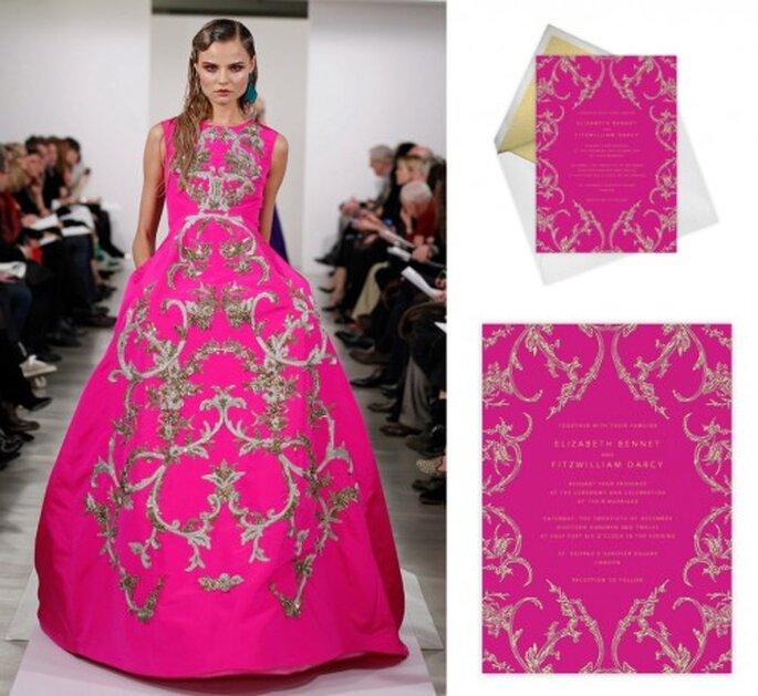 Invitación de boda elegante en color rosa fiusha - Foto Oscar de la Renta, Paperless Post
