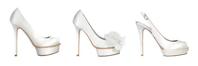 3 proposte di tendenza con tacchi molto alti dalla collezione Le Silla Bridal. Foto www.lesilla.it