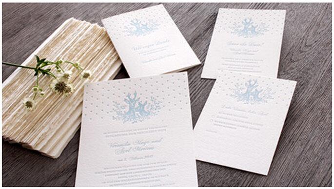 Attraktives Letterpress Kartenset für eine Winterhochzeit von Honeybird