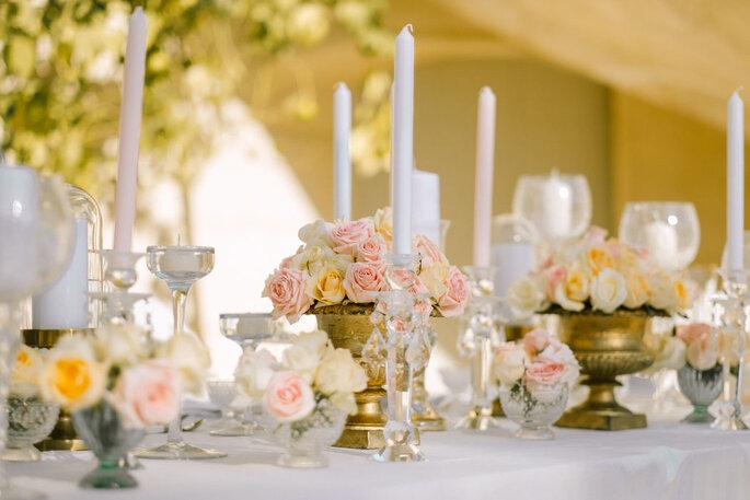 Décoration de tables de mariage printanière