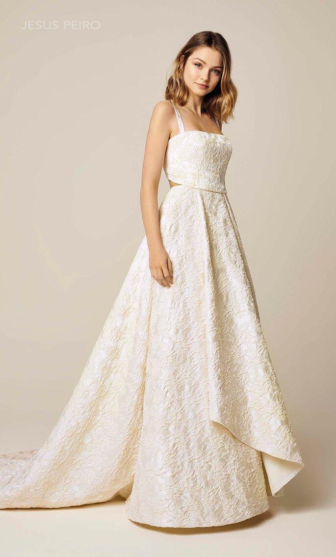 Vestido de novia escote cuadrado con cut out en parte superior