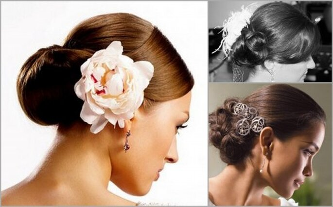 Side Chignon. A sparkly clip, pearly comb, or a fresh flower are a perfect