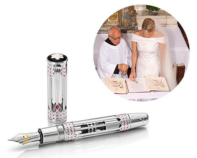 Charlene Wittstock empleó una estilográfica de Montblanc en su boda. Imagen: Eric Mathon