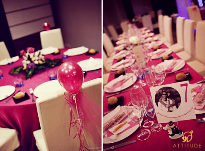 Hochzeitsdeko in Pink. Foto: Fran attitudefotografia.com