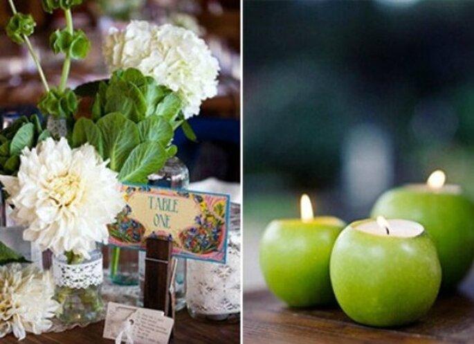 Centros de mesa con frascos reciclados y velas aromáticas, Foto: Jolis Mariages