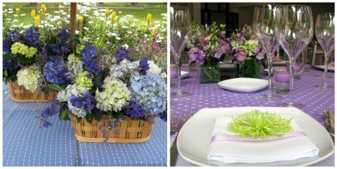 Mesas en violeta y azul claro. Foto: Bodega & Cocina