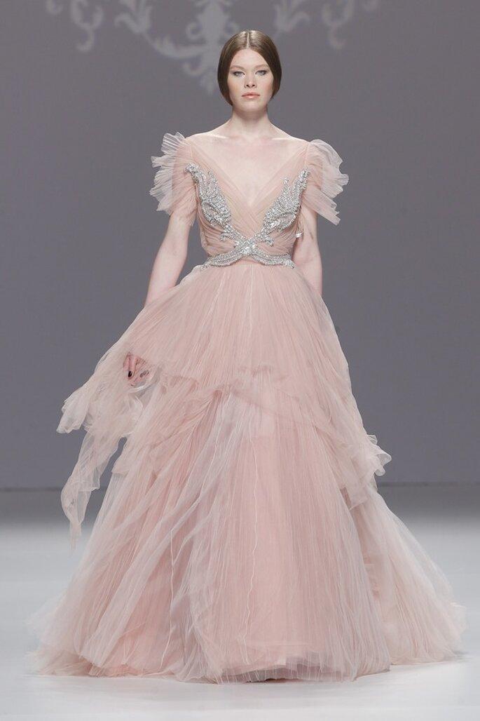 Vestidos de novia prmavera 2015 en color rosa pastel - Foto M&M