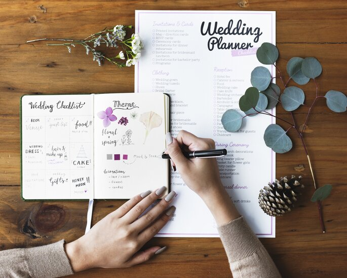 wedding planner a planear escrever sobre agenda