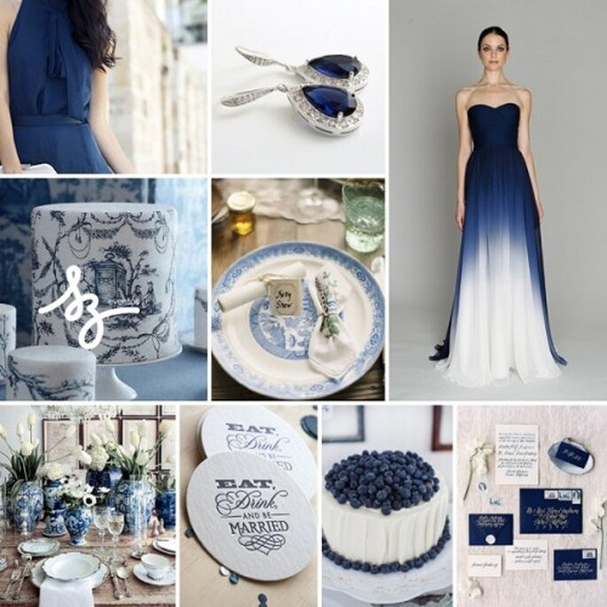 Collage para boda con detalles color zafiro - Fotos: fashionising.com, etsy.com, laceinthedesert.com, amandapearl.com - Diseño de Raisa Torres para SZ Eventos